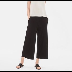 Eileen Fisher Black Crepe Pull-On Wide Leg Pants